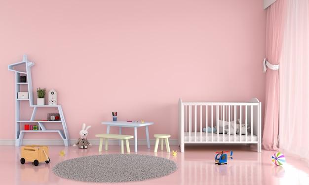 Interior de quarto de criança rosa Foto Premium