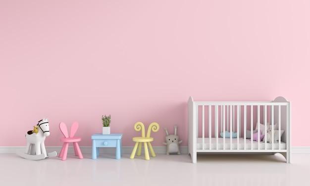 Interior de quarto de crianças-de-rosa para maquete, renderização em 3d Foto Premium