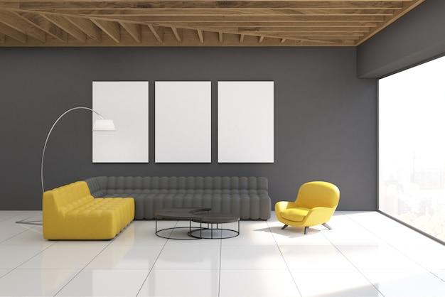 Interior de sala cinza com galeria Foto Premium