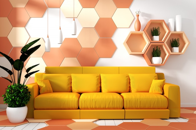 Interior de sala de estar moderna com decoração de poltrona e plantas verdes Foto Premium