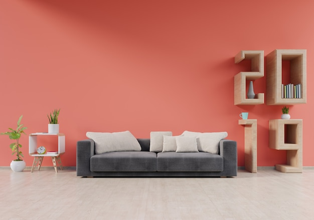 Interior de sala de estar moderna com sofá e plantas verdes, lâmpada, mesa em fundo de parede viva corais 2019, renderização em 3d Foto Premium