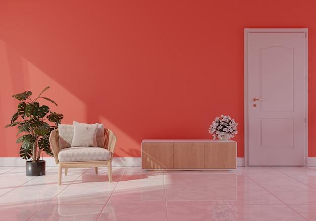Interior de sala de estar moderna com sofá na cor coral viva da renderização ano 2019,3d Foto Premium