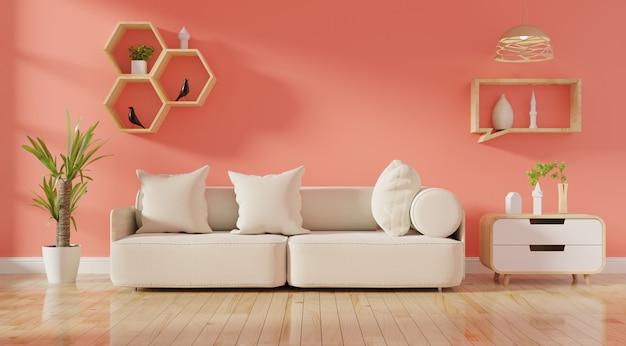 Interior de sala de estar moderna com sofá vivo cor coral e plantas verdes Foto Premium