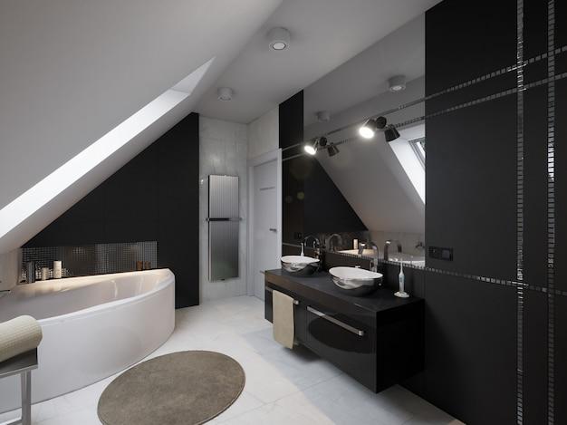 Interior do banheiro moderno com pia e vaso sanitário Foto Premium
