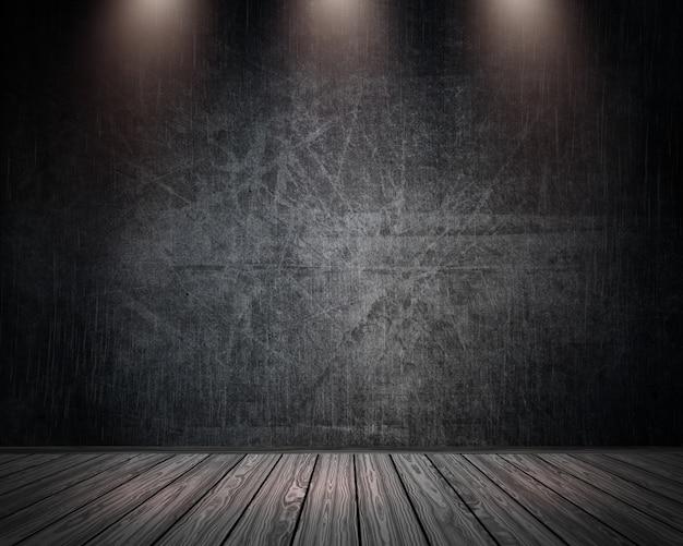 Interior do quarto 3d grunge com holofotes brilhando Foto gratuita