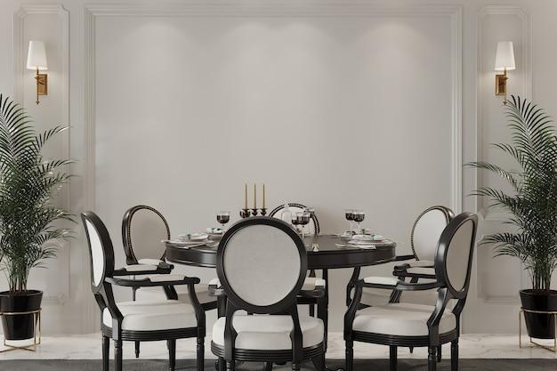 Interior do quarto clássico com mesa e cadeiras Foto Premium
