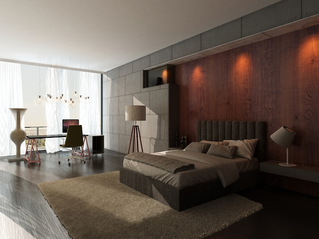 Interior do quarto design moderno Foto Premium