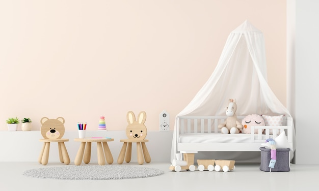 Interior do quarto infantil com espaço de cópia Foto Premium