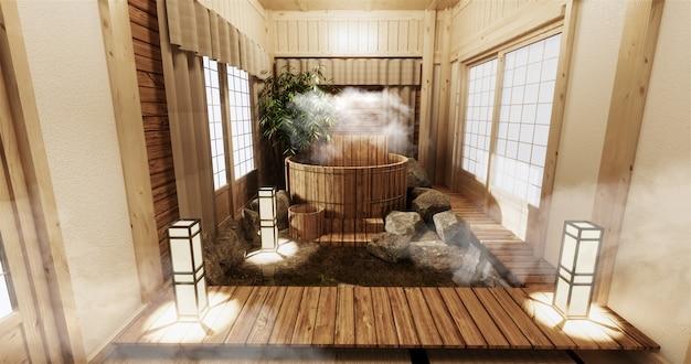 Interior do quarto onsen com banheira de madeira e decoração em estilo japonês de madeira Foto Premium