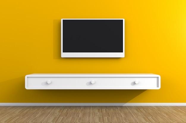 Interior do quarto vazio com tv, sala de estar levou tv Foto Premium