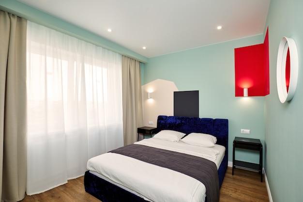 Interior elegante quarto moderno. escandinavo Foto Premium