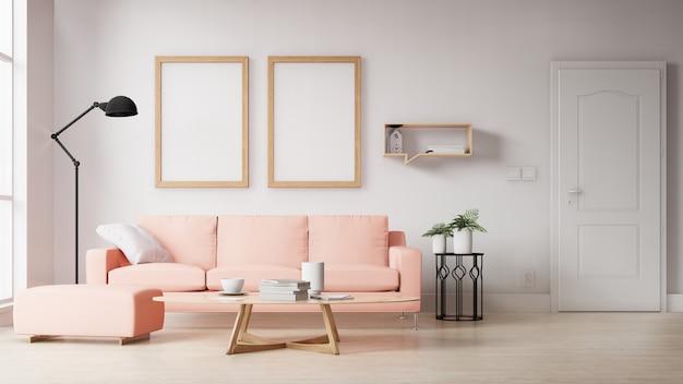 Interior em branco foto moldura sala de estar com sofá rosa. renderização em 3d. Foto Premium