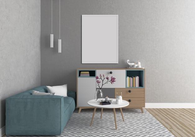 Interior escandinavo com moldura vertical branca Foto Premium