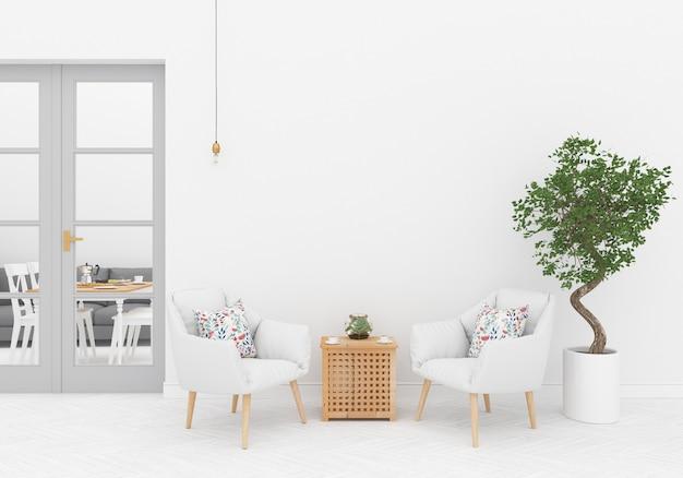 Interior escandinavo com parede em branco Foto Premium
