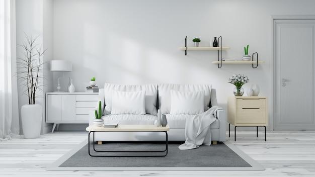 Interior escandinavo da sala de estar Foto Premium