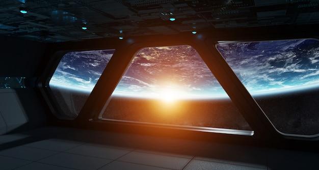 Interior futurista de nave espacial com vista no planeta terra Foto Premium
