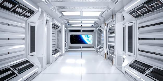 Interior futurista do corredor de ficção científica de arquitetura na estação espacial com vista para o planeta terra Foto Premium