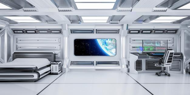 Interior futurista do quarto da ficção científica com vista da terra do planeta na estação espacial, rendição 3d Foto Premium