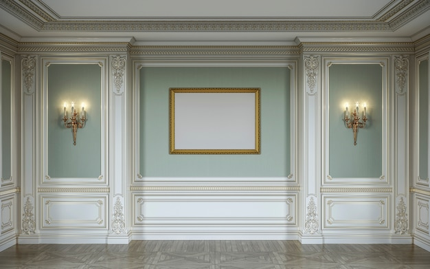 Interior lassic em cores verde-oliva com painéis de parede de madeira, arandelas, moldura e nicho. renderização 3d. Foto Premium