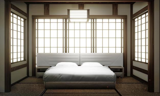 Interior luxo moderno estilo japonês quarto mock up, projetando o mais bonito. renderização 3d Foto Premium