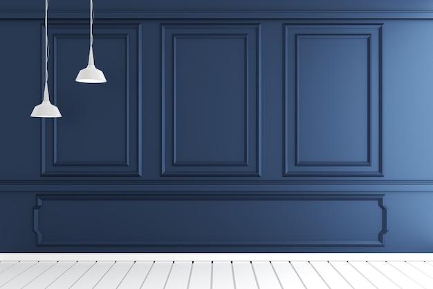 Interior luxuoso vazio da sala com projeto do molde da parede no assoalho de madeira branco. renderização 3d Foto Premium