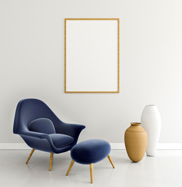 Interior minimalista com moldura elegante e poltrona Foto Premium