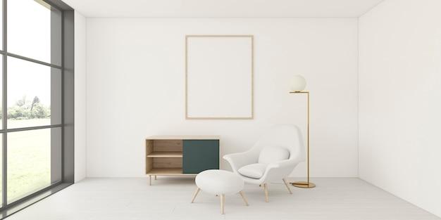 Interior minimalista com moldura elegante Foto Premium
