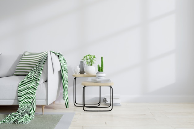 Interior minimalista do design de sala de estar Foto Premium