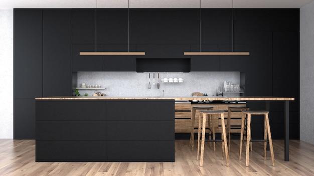 Interior moderno da cozinha com rendição de furniture.3d Foto Premium