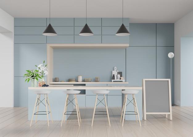 Interior moderno da sala da cozinha, sala moderna do restaurante, interior moderno da cafetaria no fundo azul da parede. 3d render Foto Premium