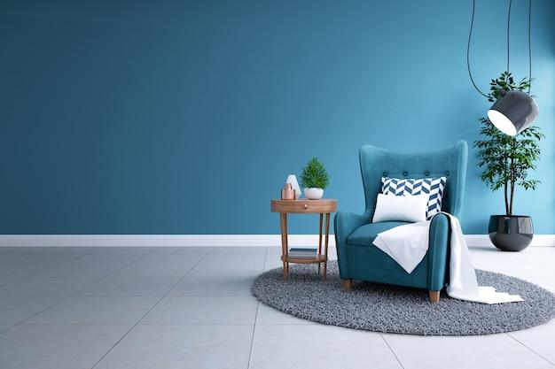 Interior moderno da sala de estar, conceito de decoração para casa blueprint, sofá azul e lâmpada preta no piso branco e parede de planta escura, renderização em 3d Foto Premium