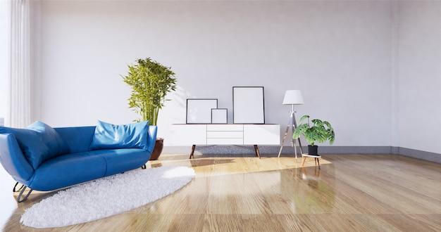 Interior moderno da sala de visitas com sofá e as plantas verdes, sofá na parede. renderização em 3d Foto Premium