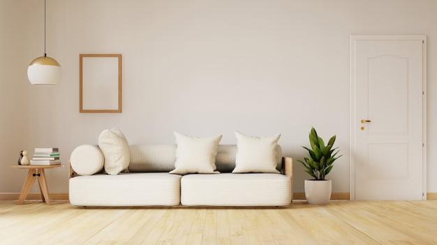 Interior moderno da sala de visitas com sofá e plantas verdes, lâmpada, tabela. renderização em 3d Foto Premium