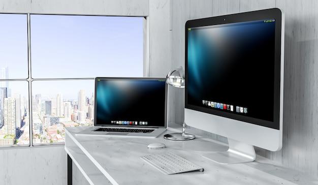 Interior moderno desktop com computador e dispositivos de renderização 3d Foto Premium
