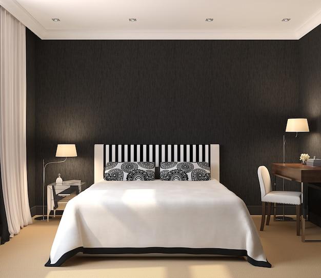 Interior moderno do quarto. 3d render. design exclusivo. Foto Premium