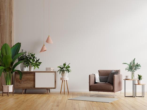 Interior moderno e minimalista com uma poltrona em uma parede branca vazia. renderização 3d Foto gratuita