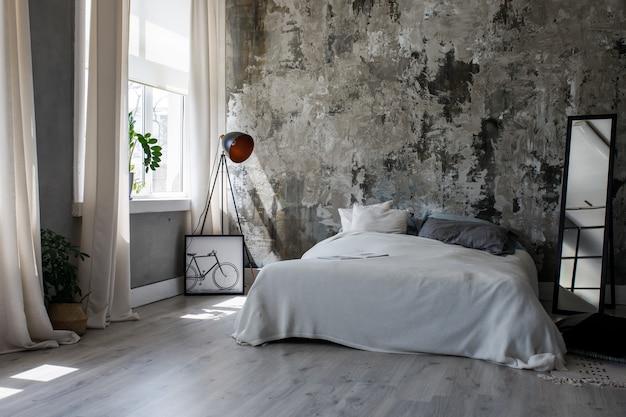 Interior moderno eco loft no quarto Foto Premium
