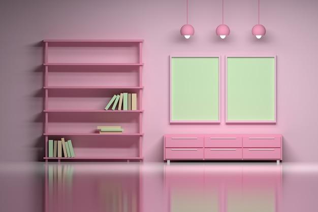 Interior moderno em rosa com cartazes vazios em branco. Foto Premium