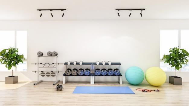 Interior moderno ginásio com equipamentos de esporte e fitness, fitness center inteiro, renderização em 3d Foto Premium