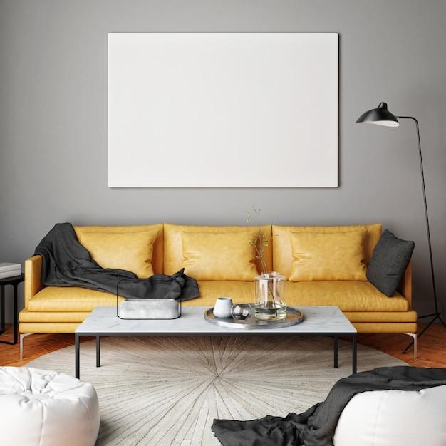 Interior sala de estar com móveis, sofá e moldura em branco Foto Premium