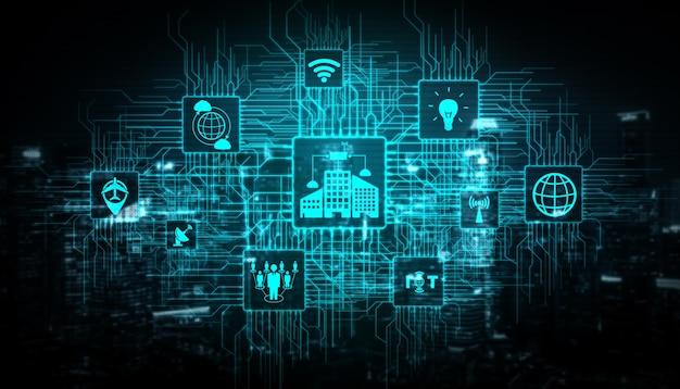 Internet das coisas (iot) e tecnologia de comunicação da informação (tic) na construção de cidades modernas. Foto Premium