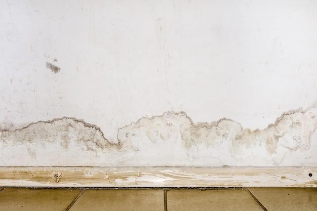 Inundação de água da chuva ou sistemas de aquecimento de piso, causando danos, descascando tinta e bolor Foto Premium