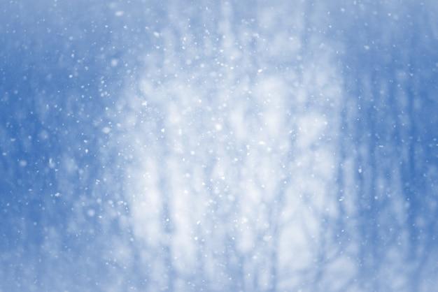 Inverno desfocar o fundo com flocos de neve Foto Premium