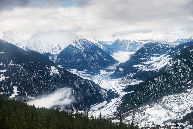 Inverno, vista, ligado, a, vale, em, alpes suíços, verbier, suíça Foto Premium