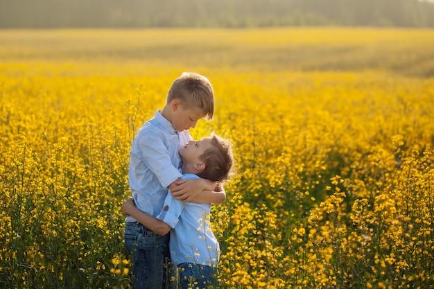 Irmão dois engraçado que abraça um com o otro quando caminhada no campo amarelo. Foto Premium