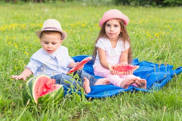 Irmão e irmã, apreciando a melancia no parque Foto gratuita