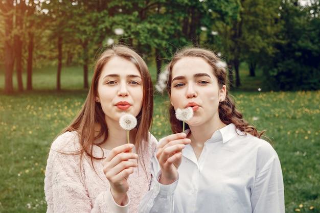 Irmãs elegantes e elegantes em um parque primavera Foto gratuita