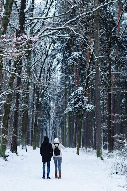 Irreconhecível jovem casal em pé sozinho e olhando para um caminho em uma floresta de inverno. vista de trás Foto Premium