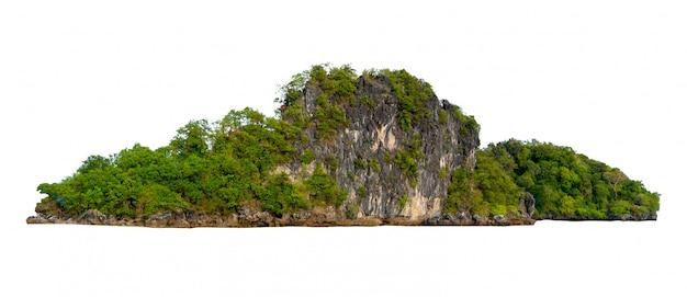 Isole a ilha no meio do mar verde fundo branco separado do fundo Foto Premium