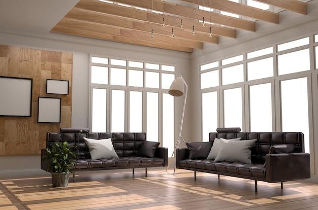 Janela do plantas do candeeiro do descanso do quadro do sofá - estilo de madeira. renderização 3d Foto Premium